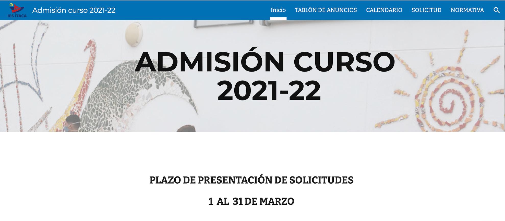 SOLICITUD DE ADMISIÓN CURSO 2021-22