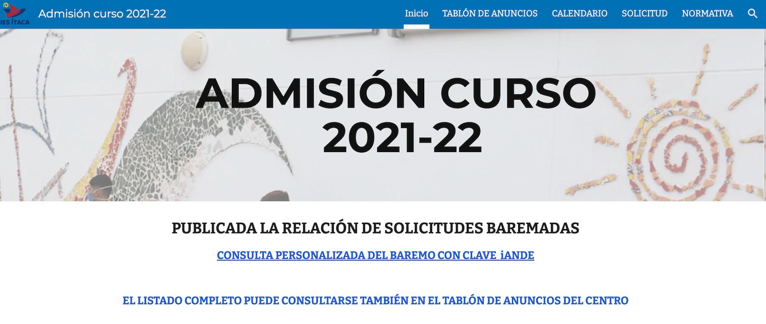 RELACIÓN BAREMADA DE SOLICITUDES RECIBIDAS CURSO 2021-22