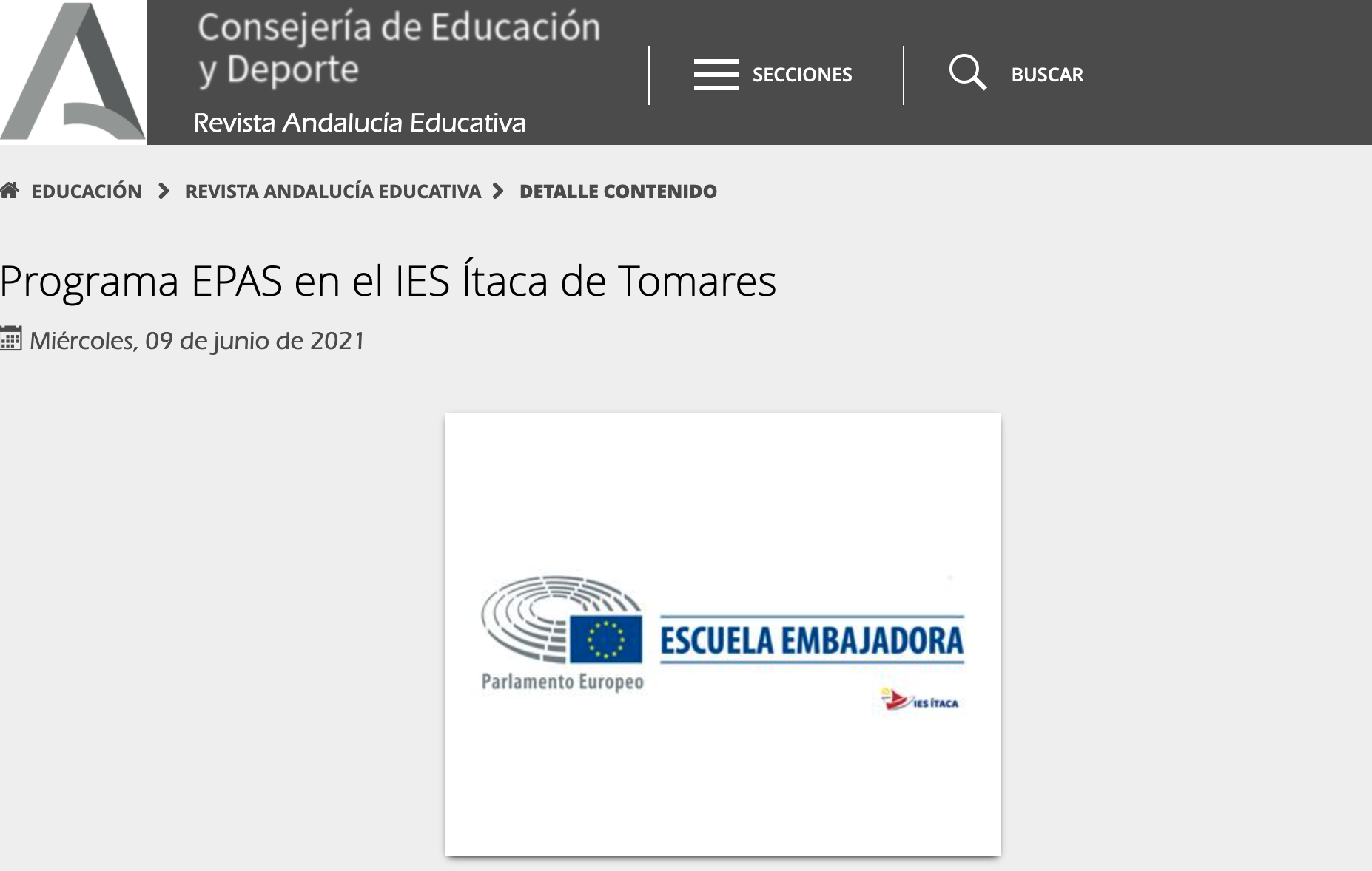 El Ítaca en la revista Andalucía Educativa