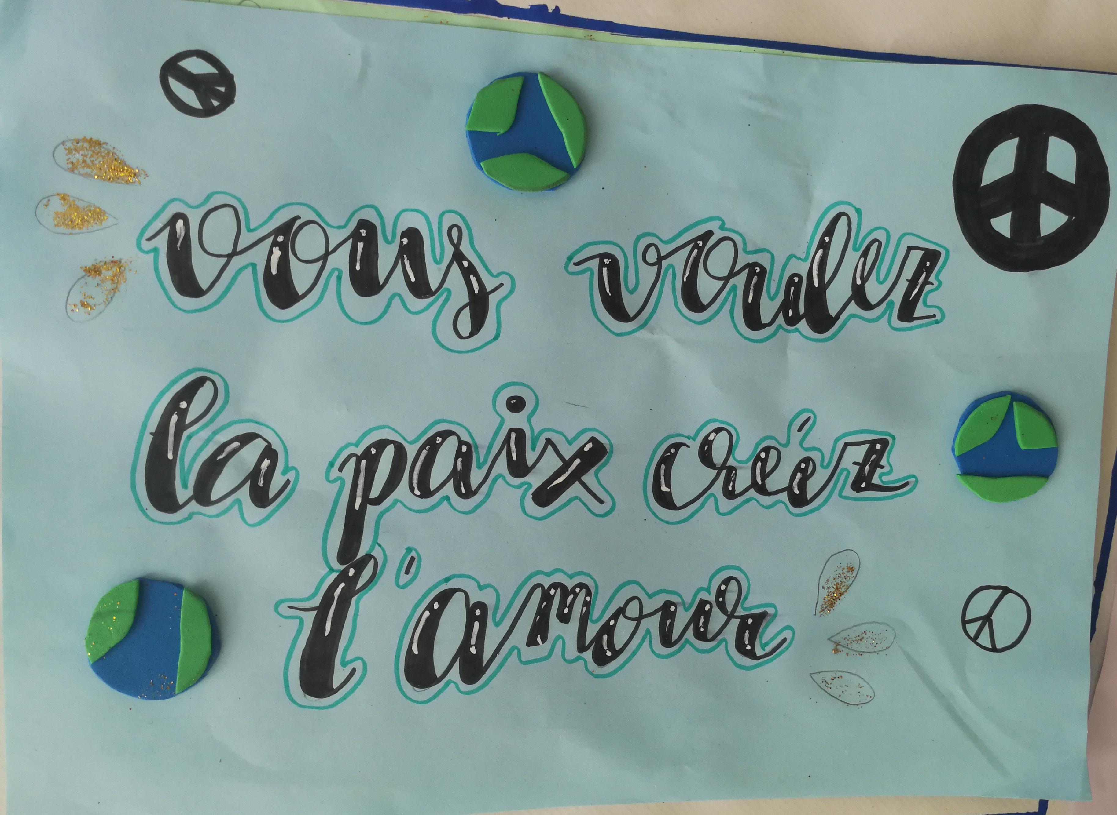 FRASES PARA LA PAZ EN CLASE DE FRANCÉS
